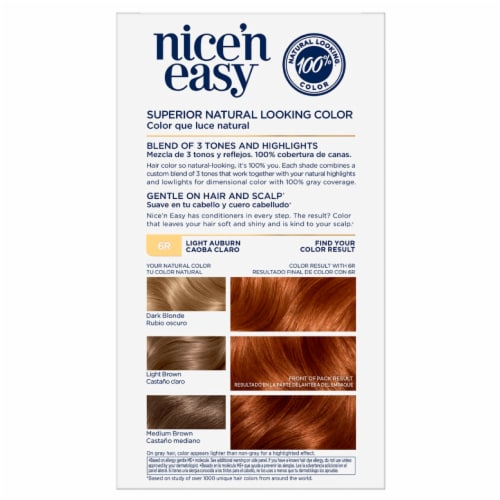 Clairol Natural Looking Nice'n Easy Permanent 6R Light Auburn Color Perspective: back