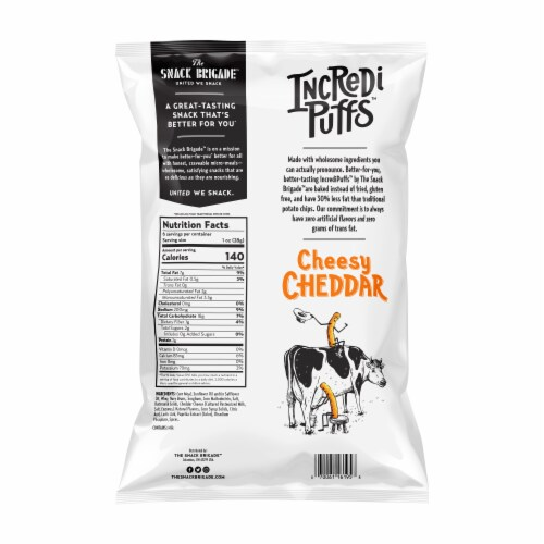 The Snack Brigade IncrediPuffs Cheesy Cheddar Plant-Based Snack Perspective: back