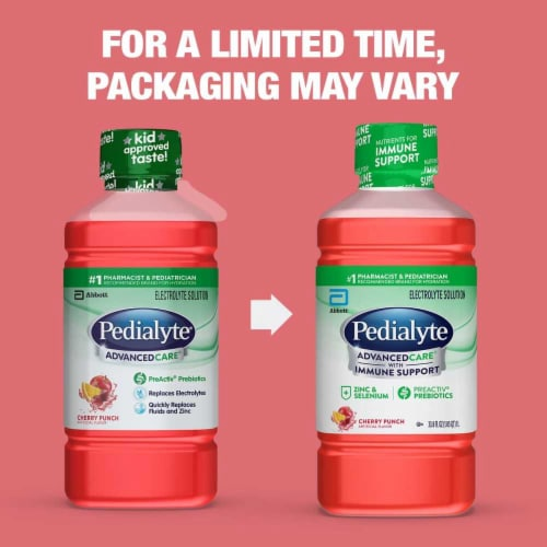 Pedialyte AdvancedCare Cherry Punch Ready-to-Drink Electrolyte Solution Perspective: back