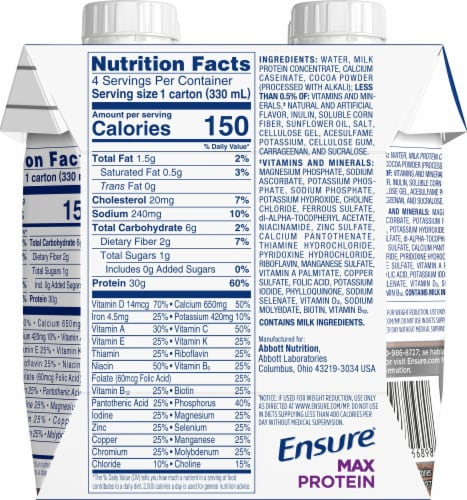 Ensure Max Protein Milk Chocolate Ready-to-Drink Nutrition Shake Perspective: back
