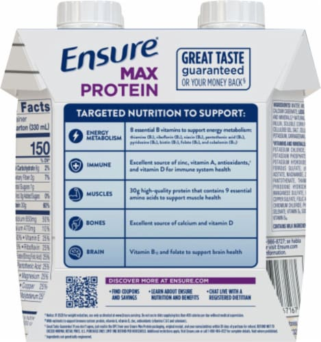Ensure Max Protein French Vanilla Nutrition Shake Perspective: back