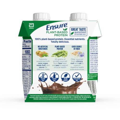 Ensure Chocolate Plant-Based Protein Nutrition Shake Perspective: back