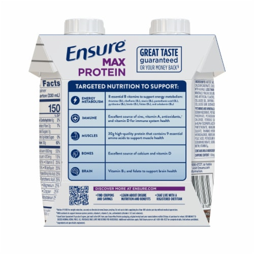 Ensure Milk Chocolate Max Protein Nutrition Shake with Caffeine Perspective: back