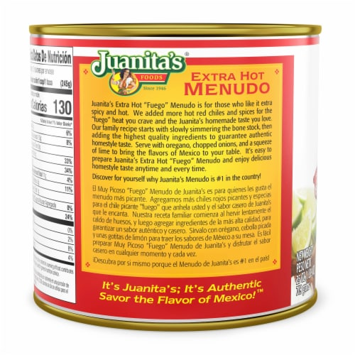 Juanita's Extra Hot Menudo Perspective: back