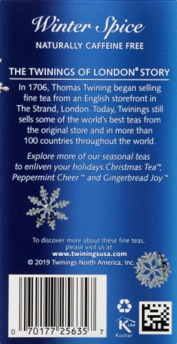 Twinings of London Winter Spice Caffeine Free Herbal Tea Bags 20 Count Perspective: back