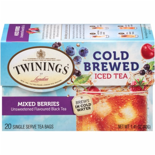 Twinings Of London Cold Brew Mixed Berries Unsweetened Black Iced Tea Bags Perspective: back