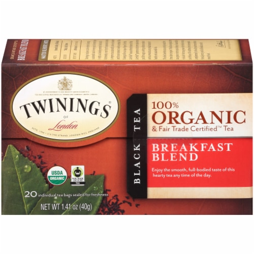 Twinings Of London Organic Breakfast Blend Black Tea Bags Perspective: back