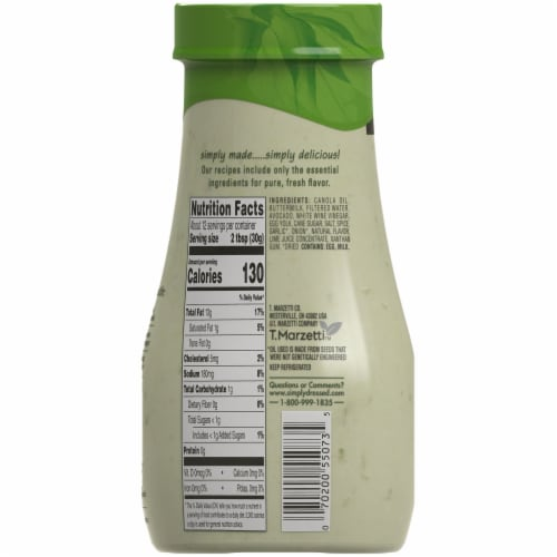Marzetti Simply Dressed Avocado Ranch Dressing Perspective: back
