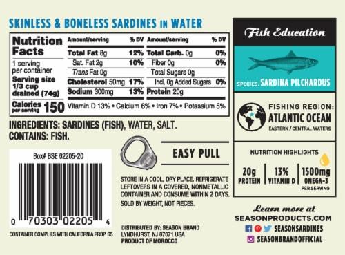 Season Brand Skinless & Boneless Sardines in Water Perspective: back