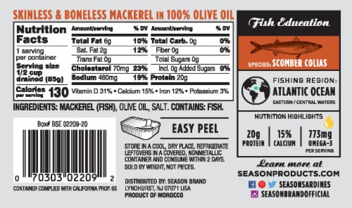 Season Brand Fillets of Mackerels in Olive Oil Perspective: back