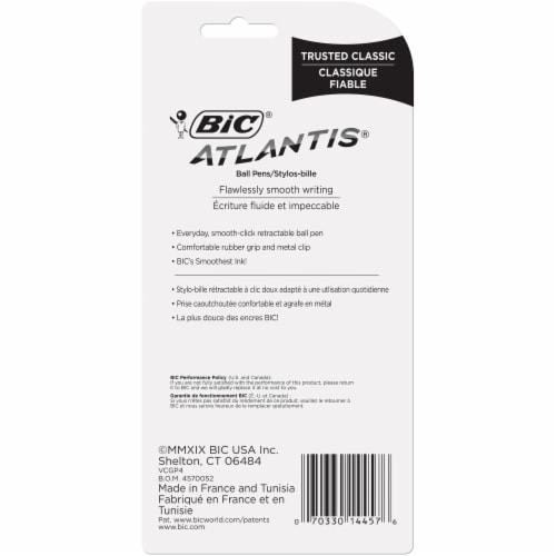 BIC Atlantis Medium Point Retractable Pens - 4 Pack Perspective: back