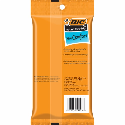 BIC Round Stic Grip Xtra-Comfort Medium Point Ball Pens Perspective: back