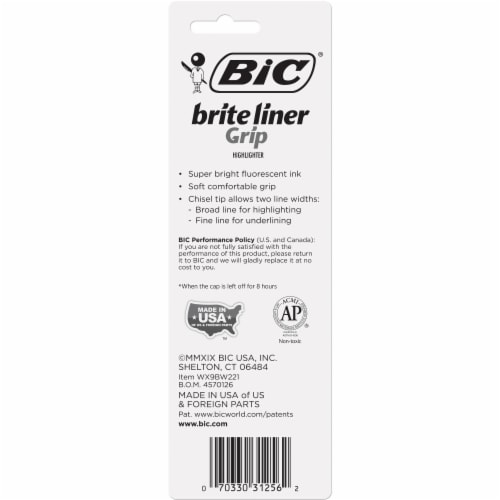 BIC Brite Liner Grip Chisel Tip Fluorescent Highlighters - Yellow Perspective: back