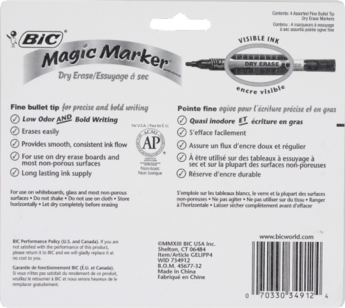 BIC Fine Point Dry Erase Magic Marker - Assorted - 4 Count Perspective: back