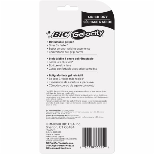 BIC Gel-ocity Quick Dry Medium Gel Pens - Black Perspective: back