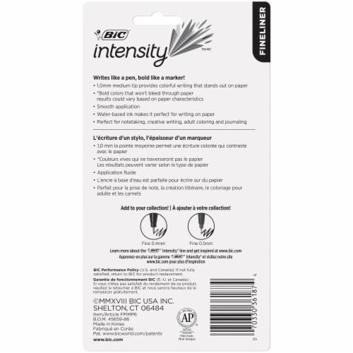 BIC Intensity Fineliner Medium Felt Tip Pens - Assorted Perspective: back