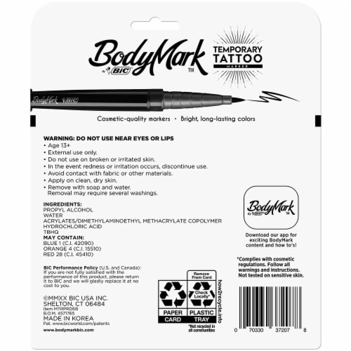 BIC® BodyMark™ Temporary Tattoo Markers Perspective: back