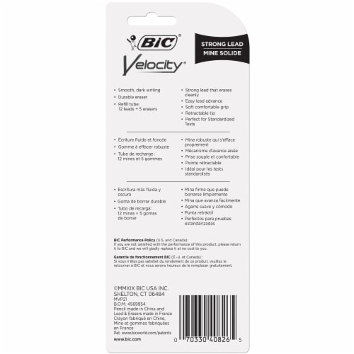 BIC Velocity 0.9mm #2 Strong Lead Mechanical Pencils Perspective: back