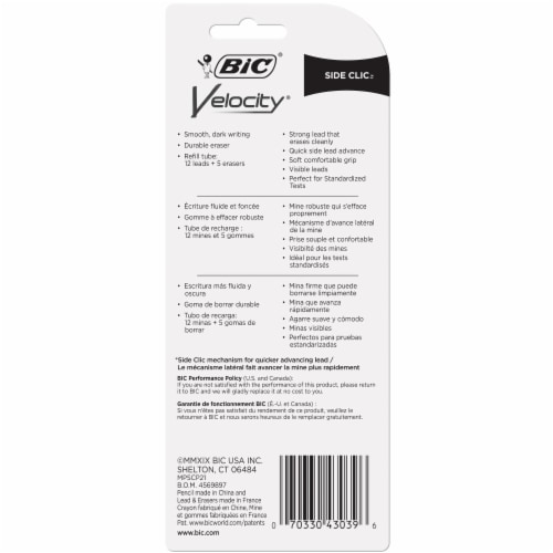 BIC Velocity Side Clic 0.7mm Mechanical Pencils Perspective: back