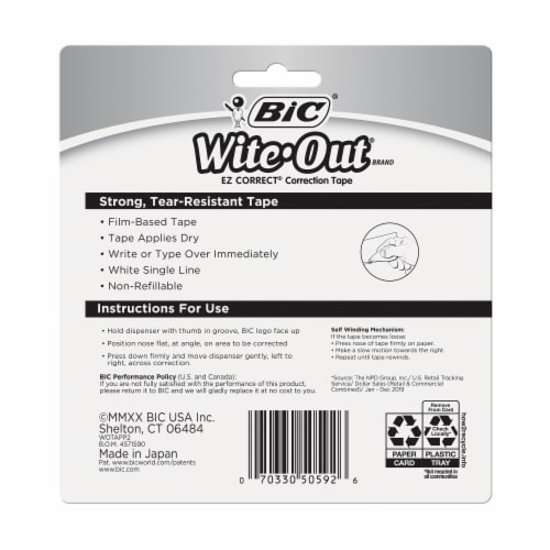 BIC Wite-Out EZ Correct Correction Tape - 2 pk Perspective: back