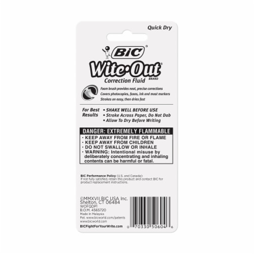 BIC Wite-Out Quick Dry Correction Fluid - White Perspective: back