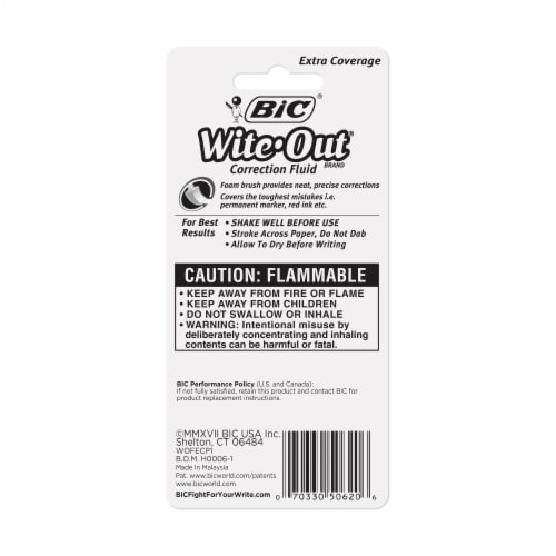 BIC Wite-Out Extra Coverage Correction Fluid Perspective: back
