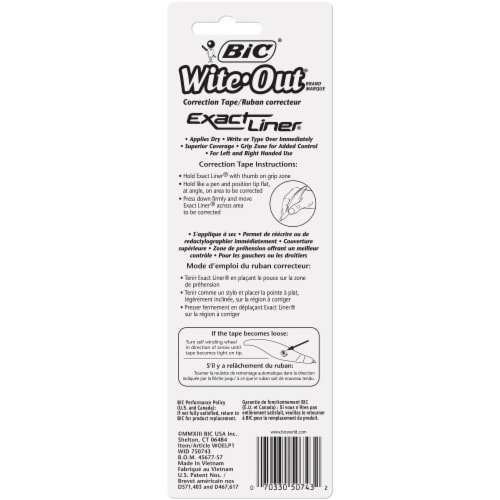 BIC Wite-Out Exact Liner Correction Tape Perspective: back