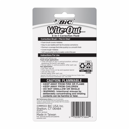 BIC Wite-Out 2-in-1 Correction Fluid - 1 Pack Perspective: back