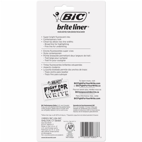 BIC Brite Liner Chisel Tip Highlighters Perspective: back