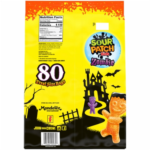 Sour Patch Kids Zombie Treat Size Candy Bags Perspective: back