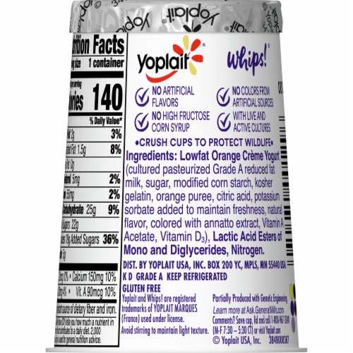Yoplait Whips Orange Creme Lowfat Yogurt Mousse Perspective: back
