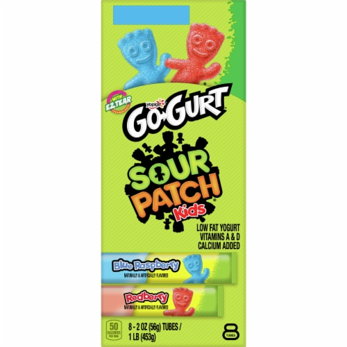 Yoplait Go-Gurt Sour Patch Kids Blue Raspberry & Red Berry Yogurt Tubes Perspective: back