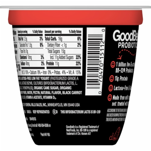 GoodBelly Probiotics Lactose-Free Strawberry Yogurt Perspective: back