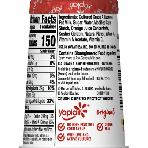 Yoplait Gluten Free Original Starburst Orange Flavored Low Fat Yogurt Perspective: back