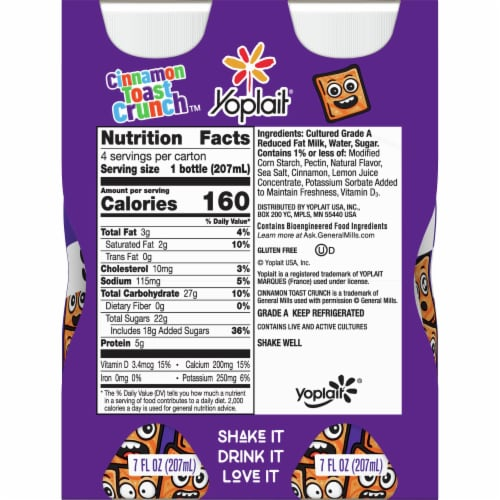 Yoplait Cinnamon Toast Crunch Smoothies 4 Count Perspective: back