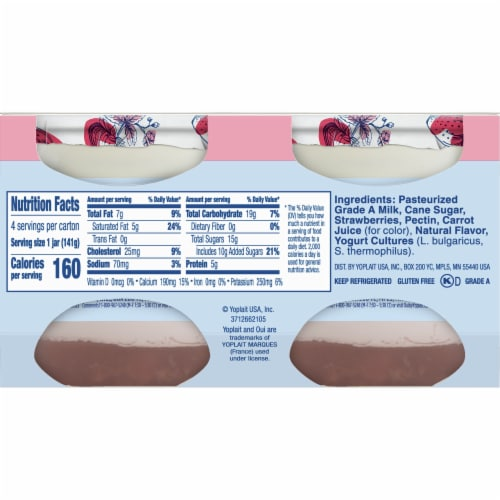 Oui by Yoplait Gluten Free Strawberry French Style Yogurt 4 Count Perspective: back