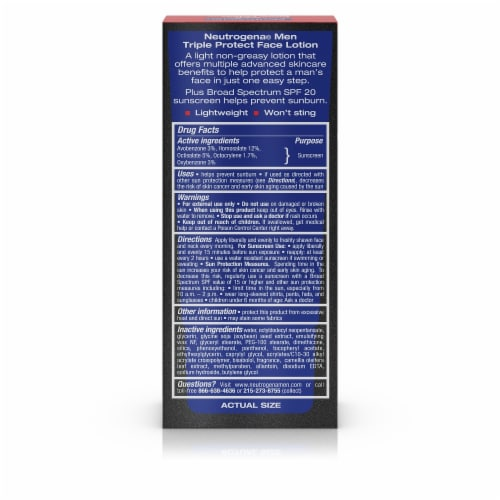 Neutrogena Men Triple Protect Face Lotion SPF 20 Perspective: back