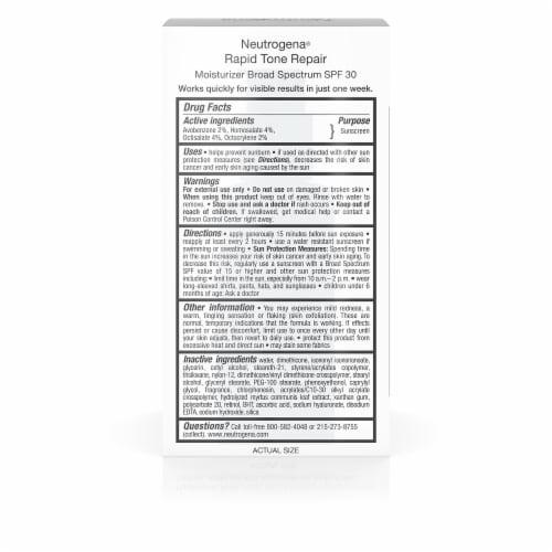 Neutrogena Rapid Tone Repair Moisturizer SPF 30 Perspective: back