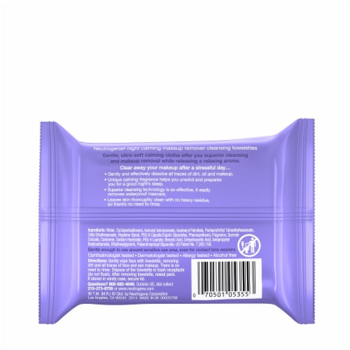 Neutrogena Night Calming Makeup Remover Cleansing Towelettes Perspective: back