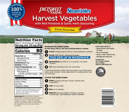 PictSweet Farms Steam'ables Harvest Vegetables with Red Potatoes & Garlic Herb Sauce Perspective: back
