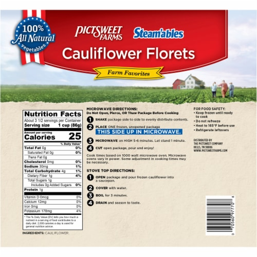 PictSweet Farms Steam'ables Cauliflower Florets Perspective: back