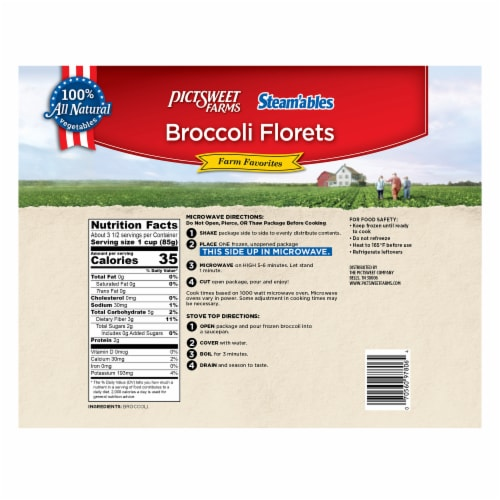 PictSweet Farms Steam'ables Farm Favorites Broccoli Florets Perspective: back