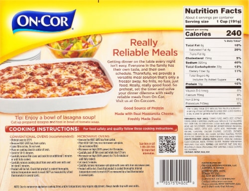 On-Cor Selects Lasagna with Meat Sauce Perspective: back