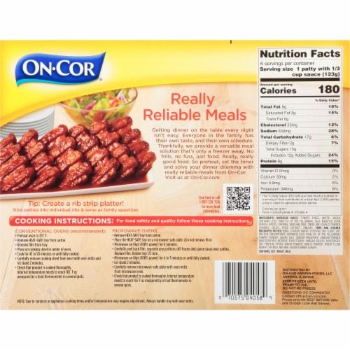 On-Cor Selects BBQ Sauce & Boneless Rib Shaped Patties Perspective: back