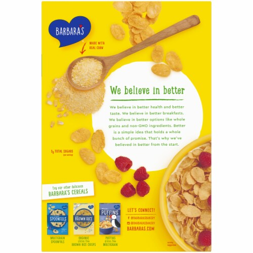 Barbara's Organic Corn Flakes Cereal Perspective: back