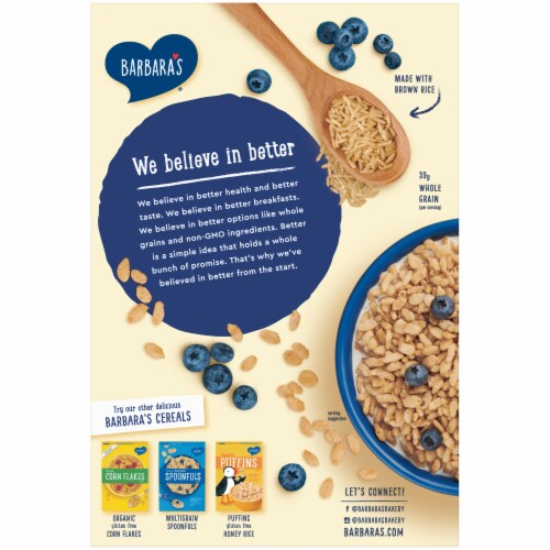 Barbara's Organic Brown Rice Crisps Cereal Perspective: back