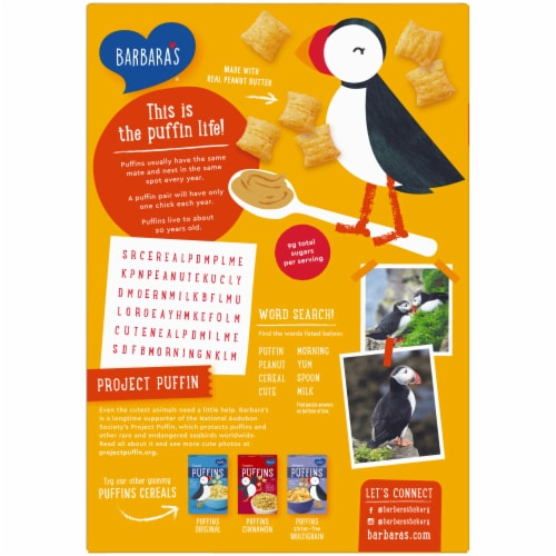 Barbara's Puffins Peanut Butter Cereal Perspective: back