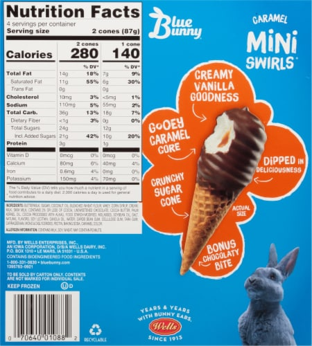 Blue Bunny Caramel Mini Swirls Ice Cream Cones Perspective: back