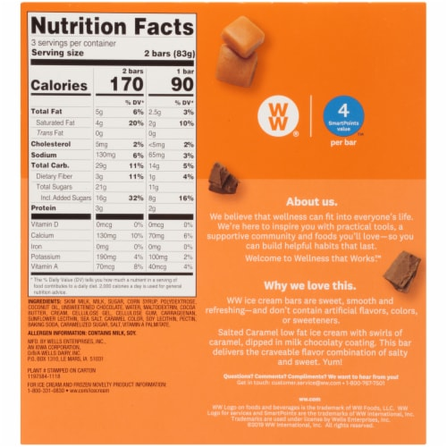 Weight Watchers Salted Caramel Ice Cream Bars Perspective: back