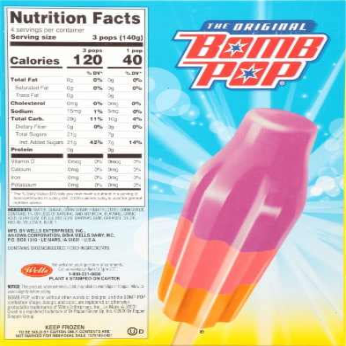 Bomb Pop® Crush Ice Pops Perspective: back